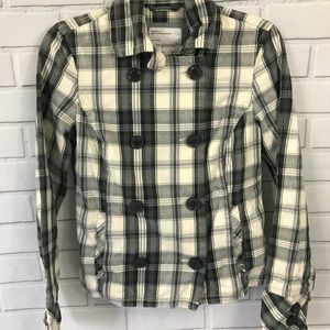 Aeropostale Gray Plaid Jacket Size Small